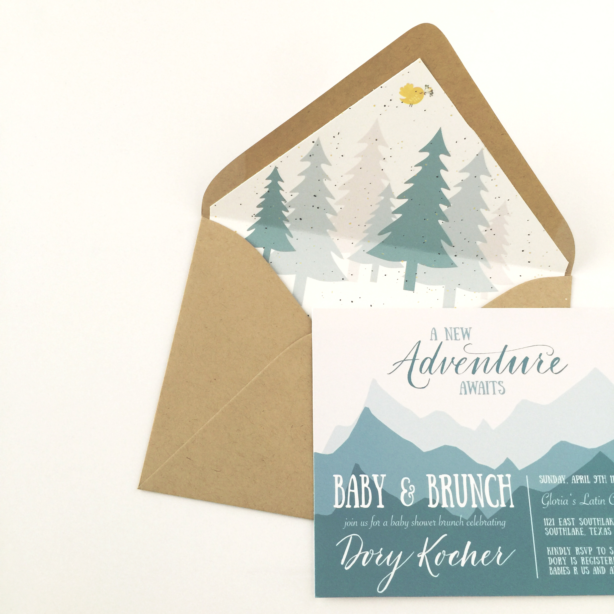 mountain baby shower theme invitations. blue mountains and trees. adventure awaits baby brunch.