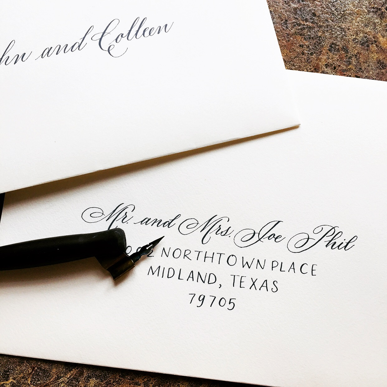 envelope calligraphy addresses