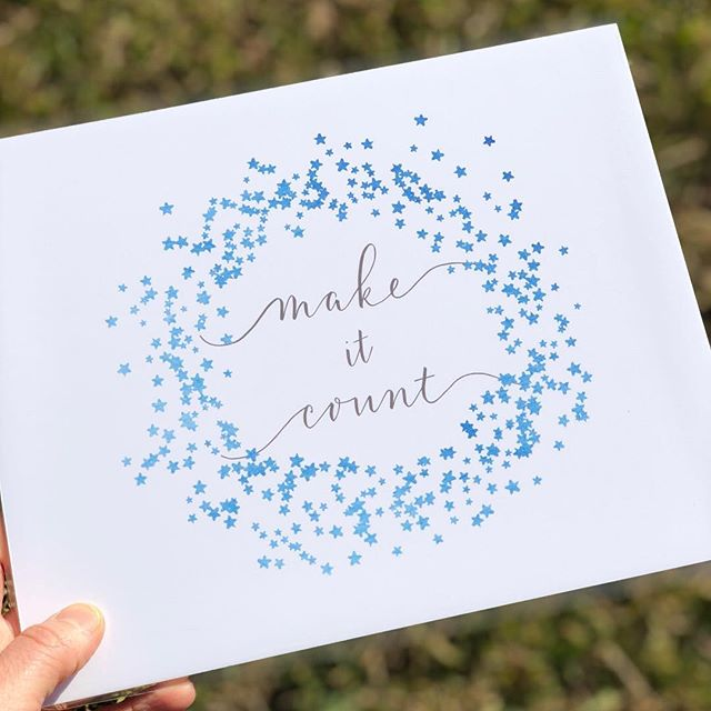 make it count calligraphy on white paper surrounded by blue stars