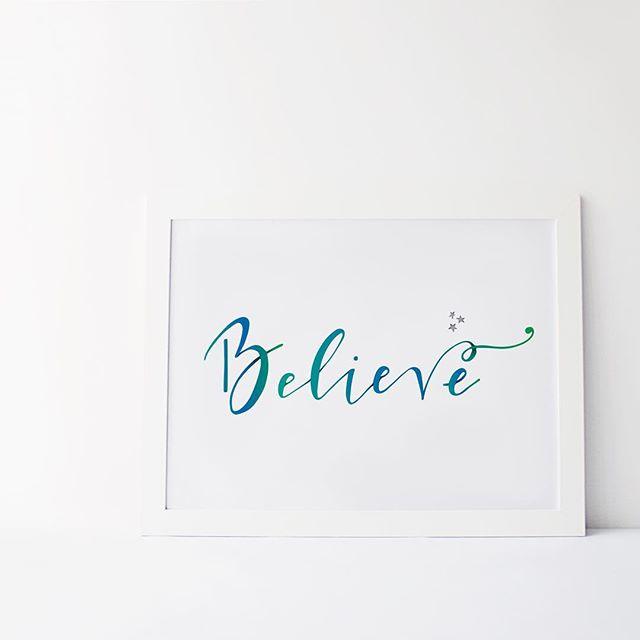 believe calligraphy quote