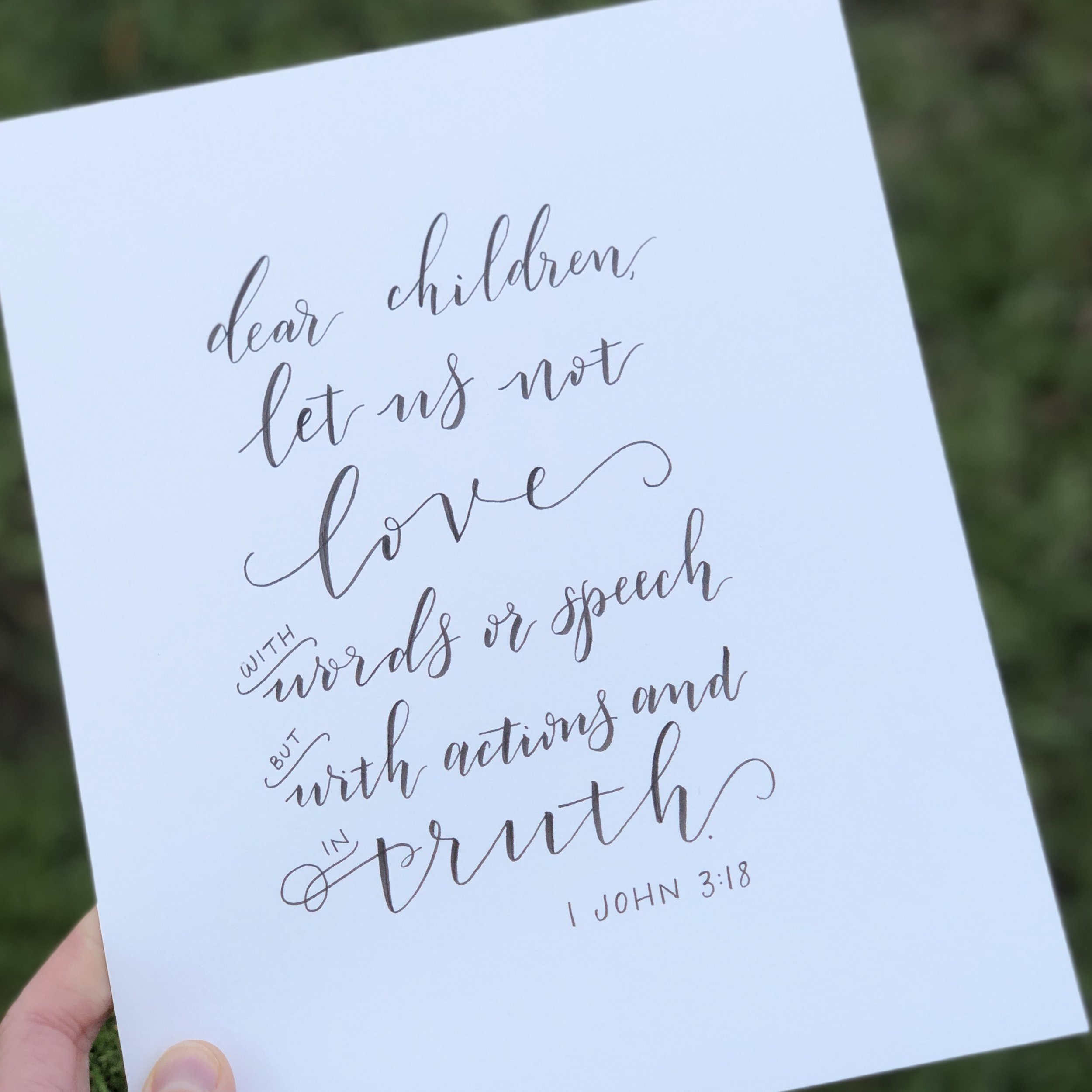 dear children let us not love with words or speech but in actions and in truth