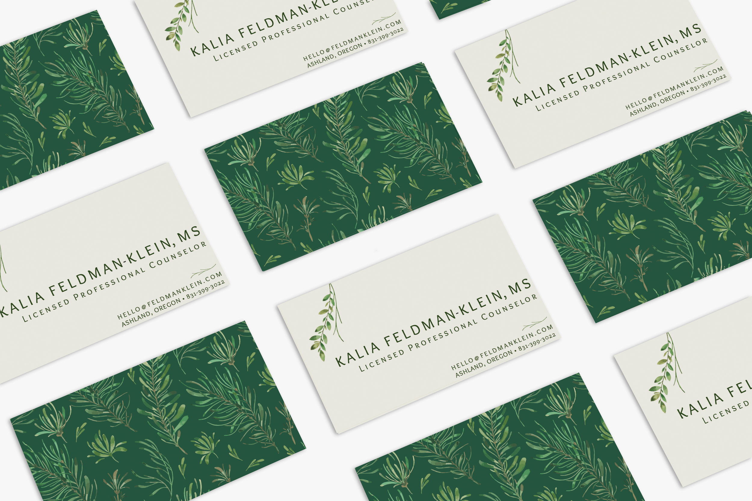 group of business cards with green and ivory background for a professional counselor