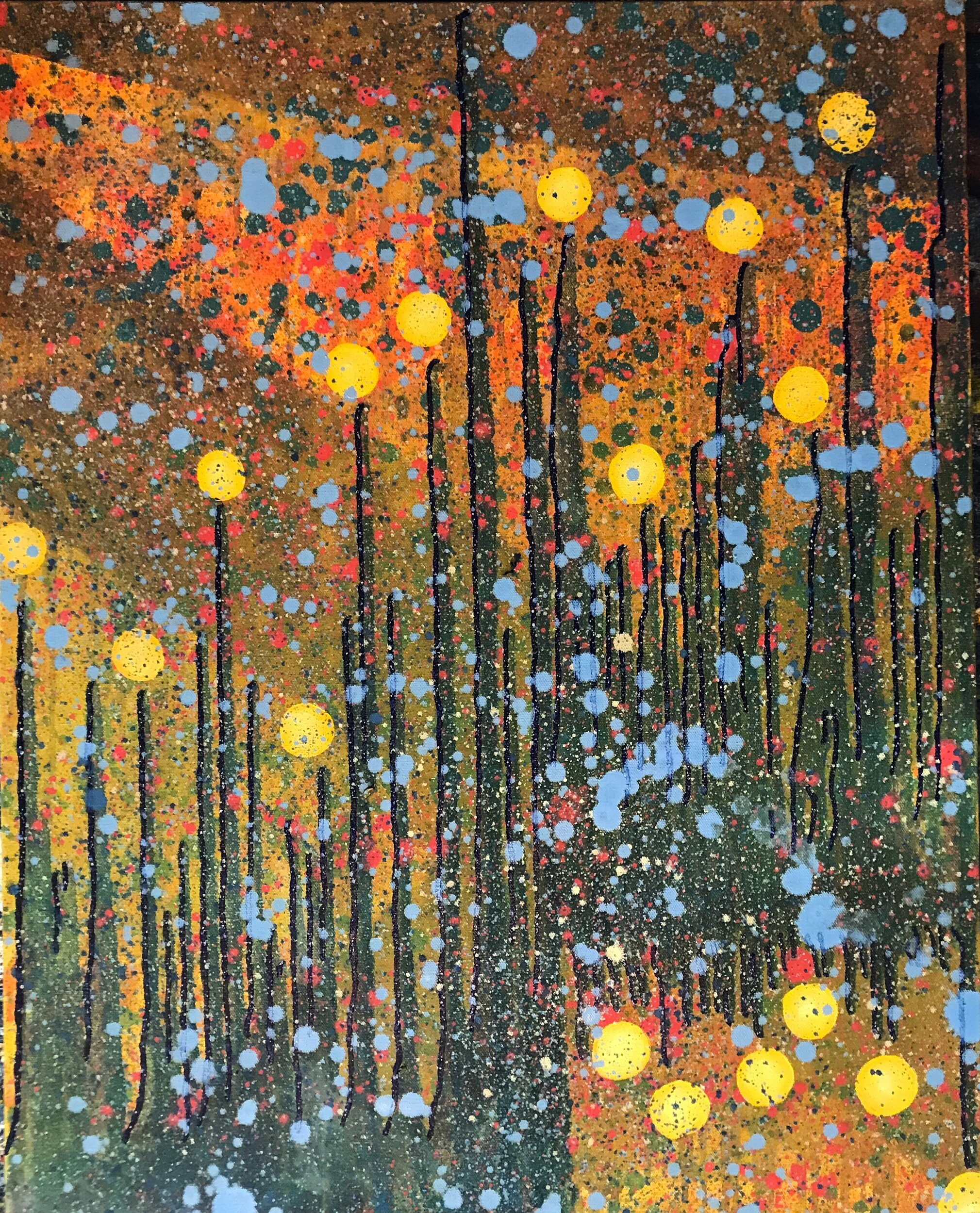 Teal Drips & Orange Spheres