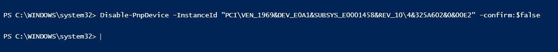 use disable-pnp to disable the device using powershell