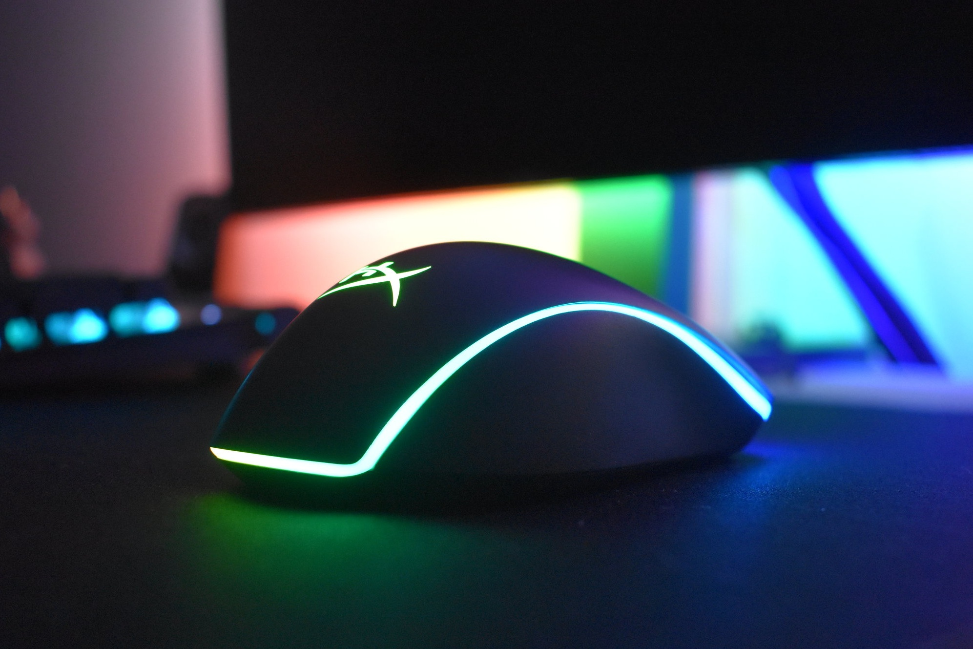 HyperX Pulsefire Surge RGB Gaming Mouse with Lights On