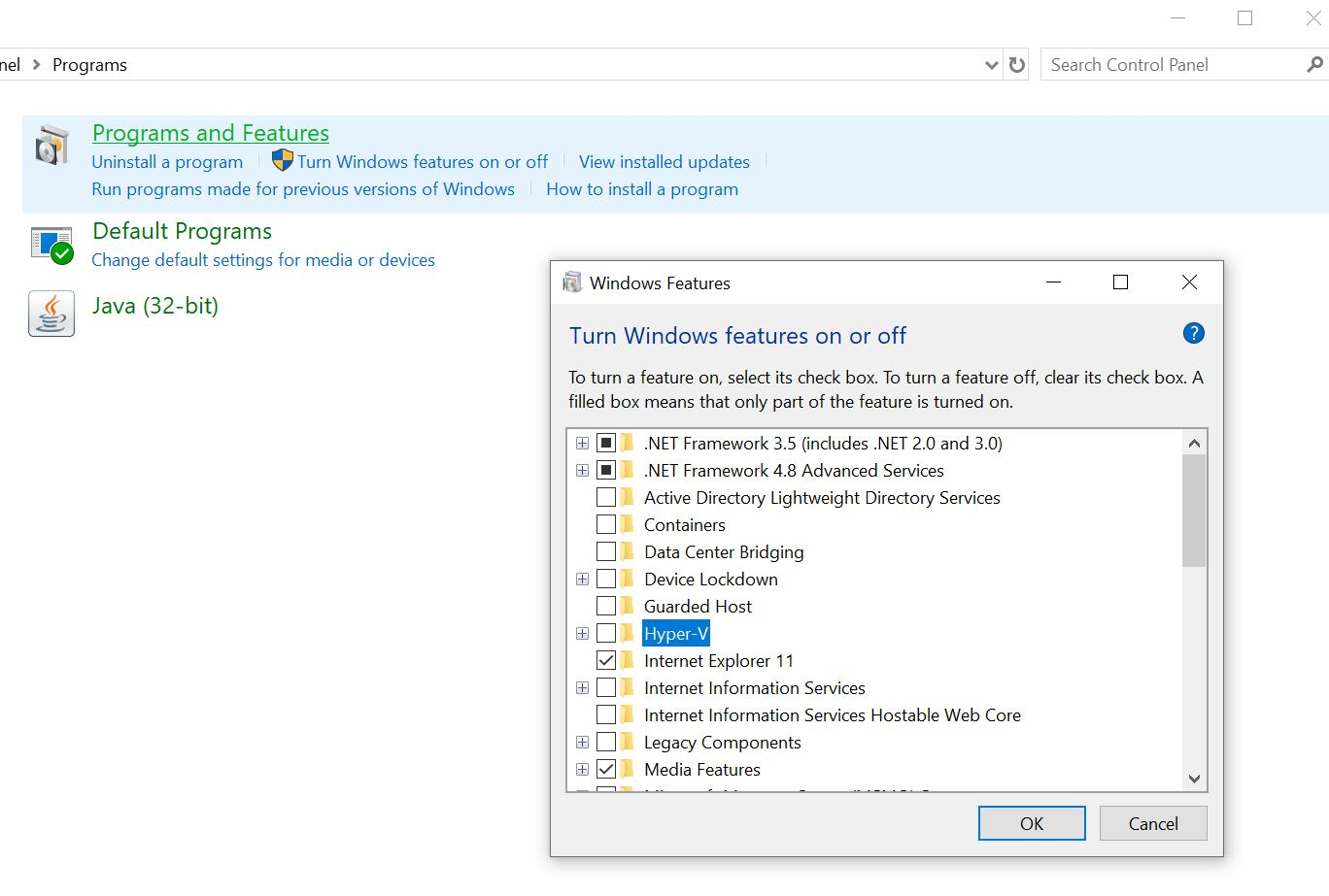 Enable Hyper-V from Programs and Features