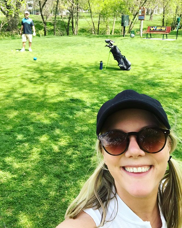 "I never thought I would like golf, ever! Never say never. First golf sess of the season a couple of weeks ago with this babe.☀️⛳️💕 #golf #beers #fun . . . ... let's keep it simple here. So tired of stressing about IG, likes, judgements. Share what you love, have more fun, go on long walks, do more yoga, love more, laugh more. #goals oh and as @babyonthebrehm says, ""Wear The Damn Swimsuit"" 😆"