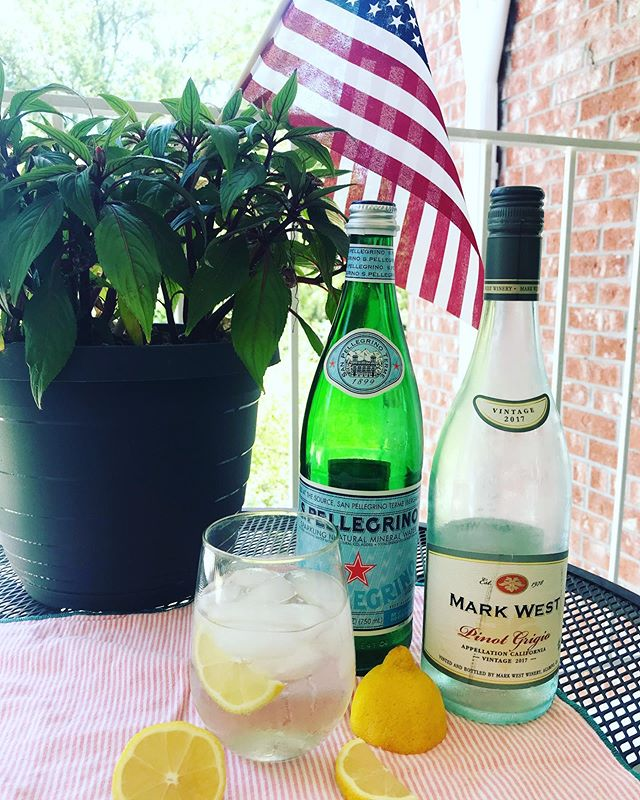 I would say it's 5 o'clock somewhere, but it's #summer & #friday so do what you want, sunshines! . . . My fave refreshing drink right now... white wine spritzer! Duh. I had a realllllly crappy 4th of July weekend, so I'm having a redo. Because I can. #cheers #weekend 💙🇺🇸❤️. . . This Pinot Grigio is $11.99.
