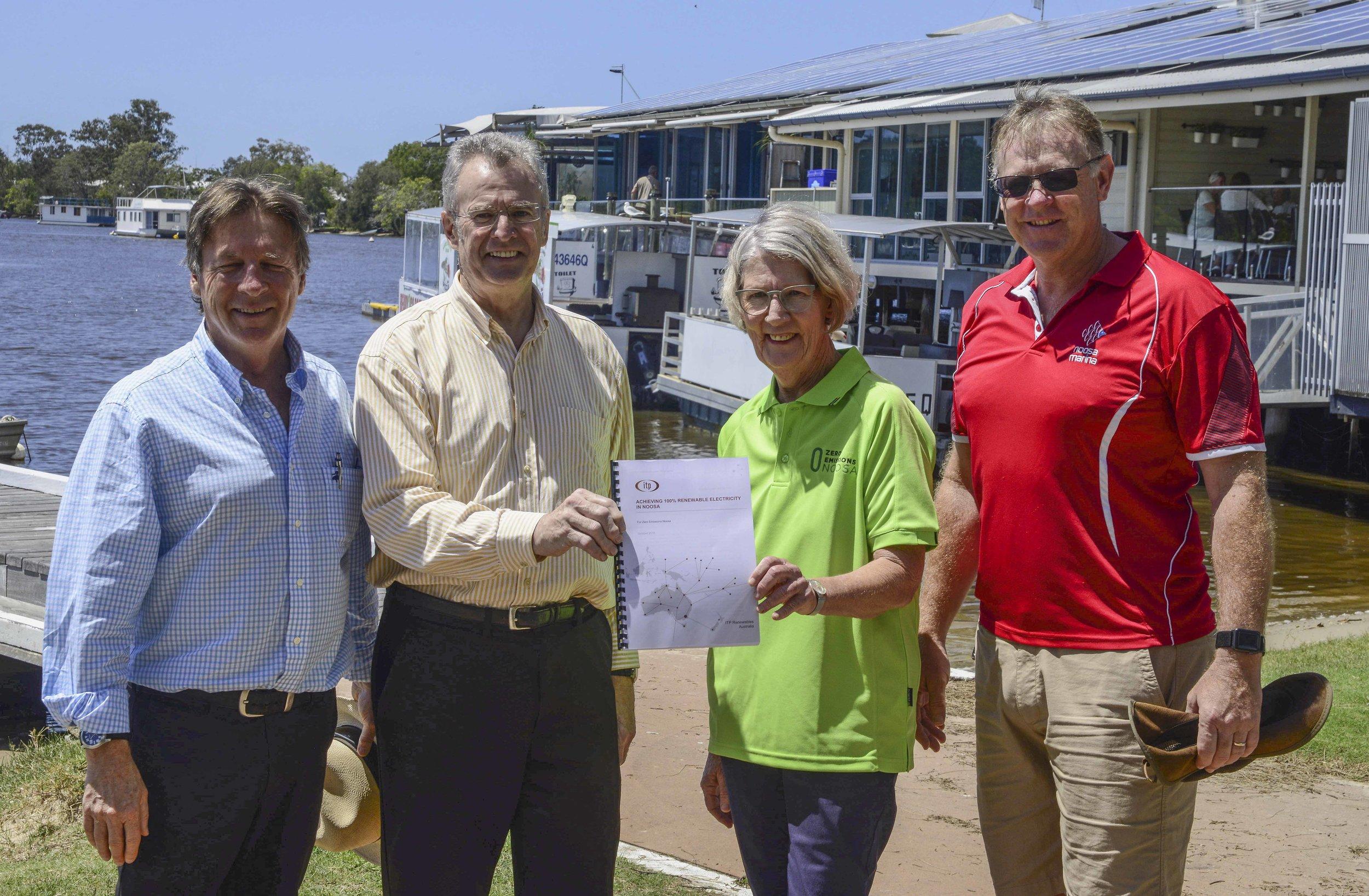Mayor Tony Wellington, Noosa Biosphere Reserve Chair Dick Barnes, President ZEN Inc Vivien Griffin and Warren Smith from the Noosa Marina at the Roadmap Report launch