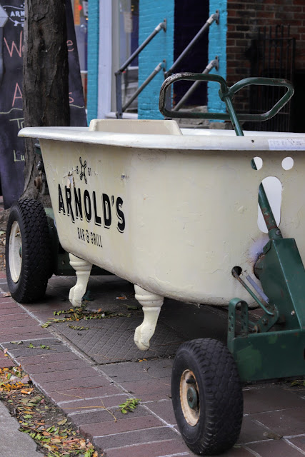 You can find Arnold's by the bathtub sitting out front.