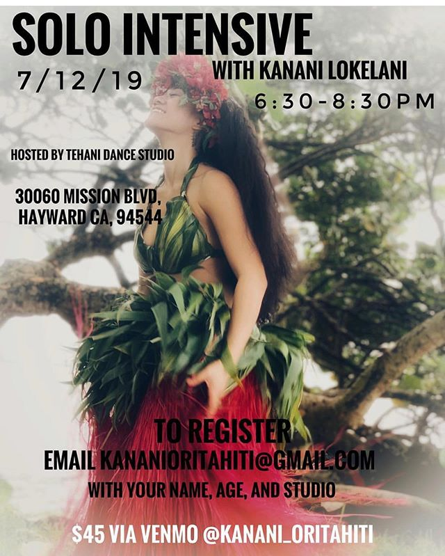 Back in California and we have a Workshop coming up! BAY AREA IN JULY!! Details in photo😍 ... SWIPE RIGHT to see this years 1st place performance at Heiva I Paris 2019🌈 #oritahiti #sanfrancisco #kananilokelani