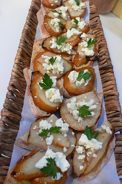 Grilled Pear on sour dough crostini