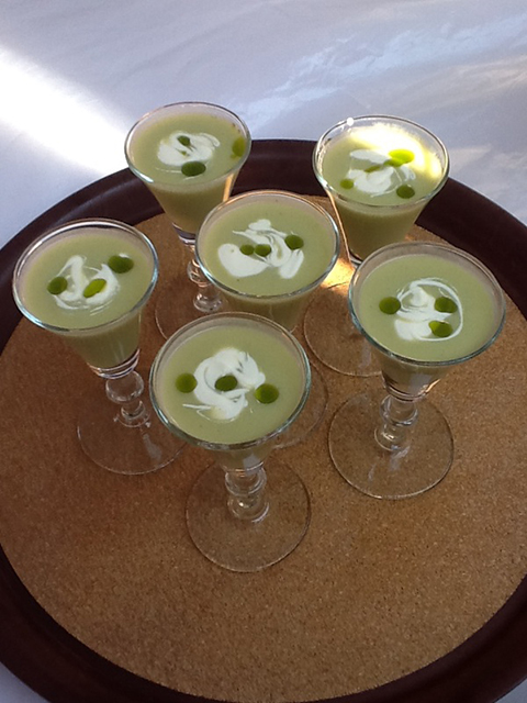 Roasted corn avacado chilled soup