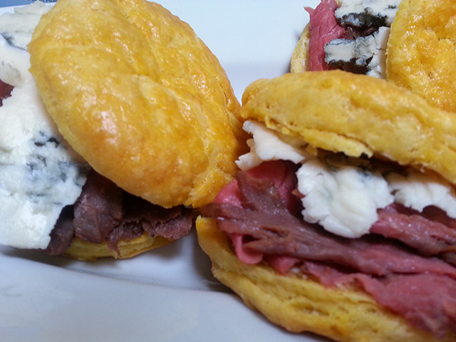 Yam scones with rare roast beef and blue cheese