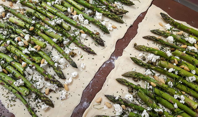 Asparagus pine nut puff pastry