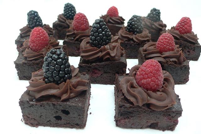 Gluten free chocolate brownie with chocolate ganache icing