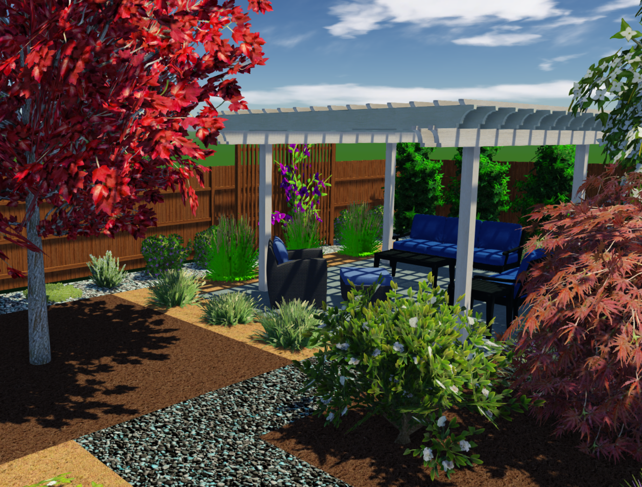 3D Rendering of a small backyard design with outdoor patio, redwood trellis, water feature and climate appropriate plants.