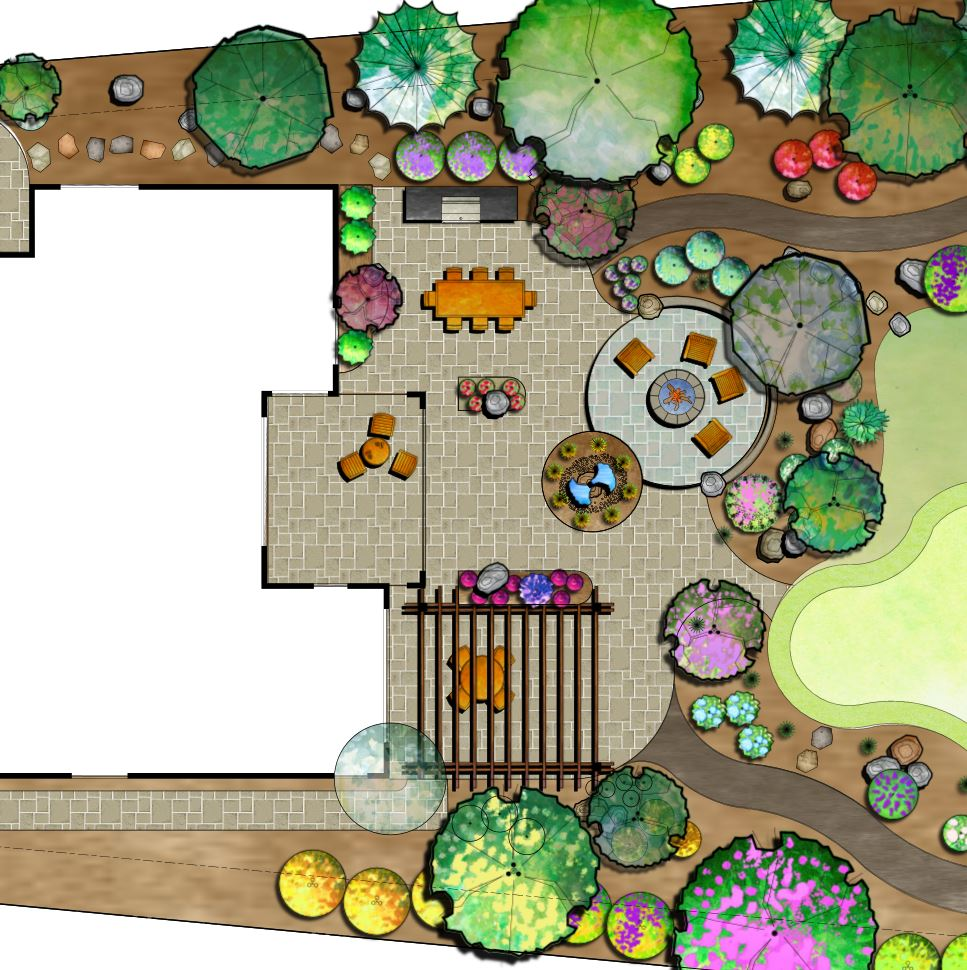 Landscape design for outdoor fireplace, outdoor kitchen and pergola in Reno, NV