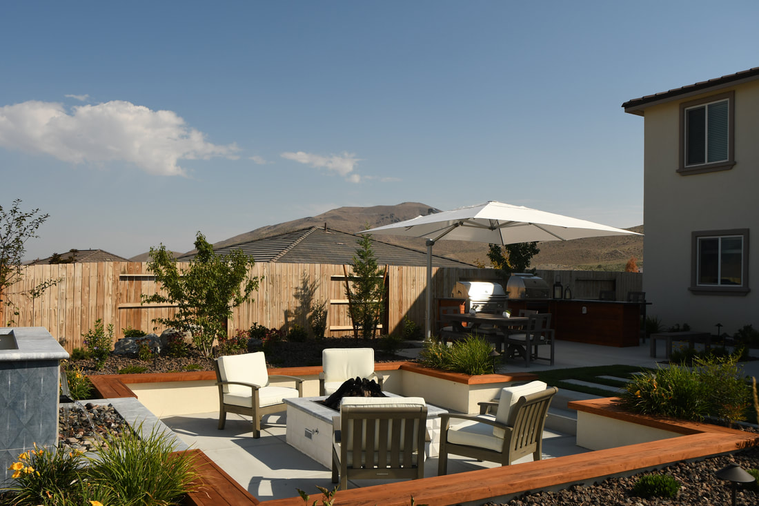 Top patio with outdoor fireplace in Reno, NV
