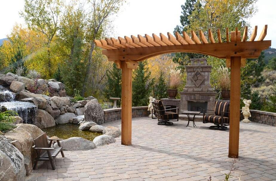 Outdoor fireplace Reno NV and pergola