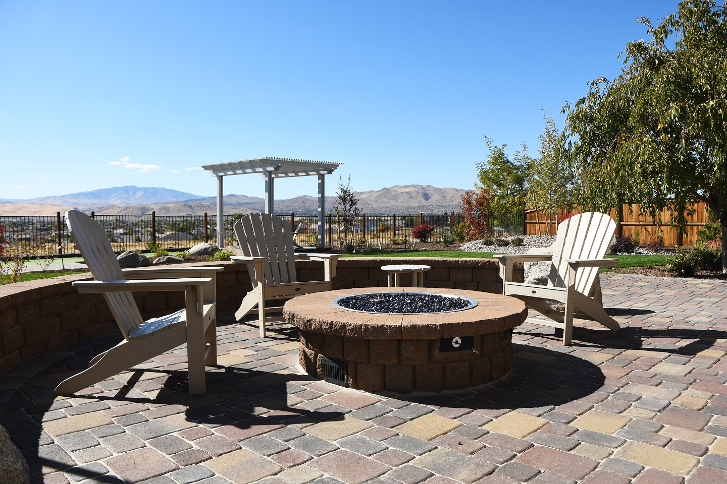 Outdoor fireplace and pergola in Reno, NV