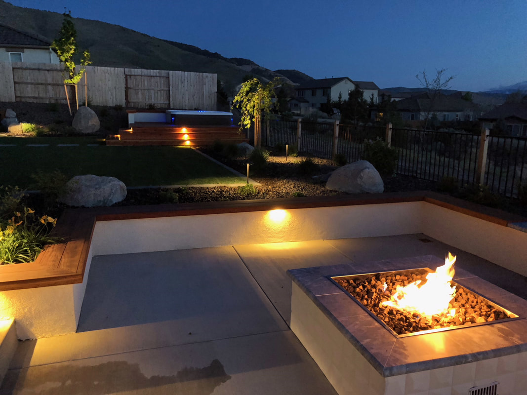 Retaining wall and outdoor fireplace in Reno, NV