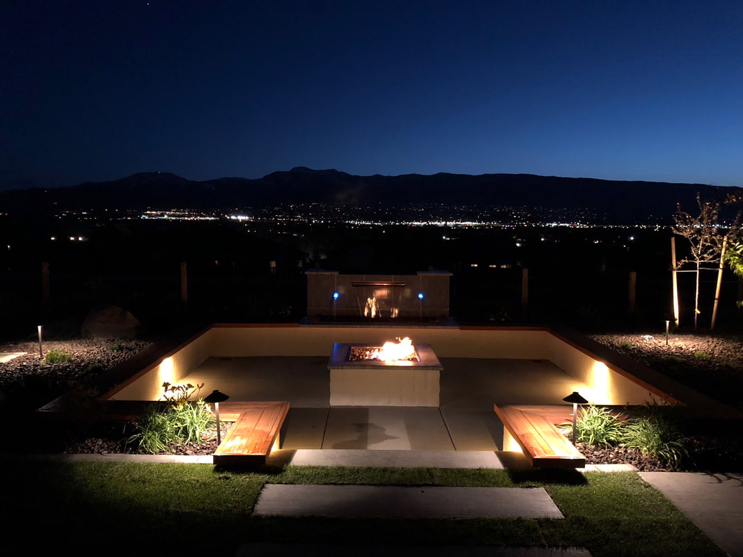 Outdoor fireplace in Reno, NV at night