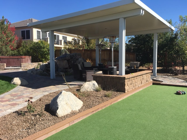 Reno NV top landscape design with pergola and retaining wall