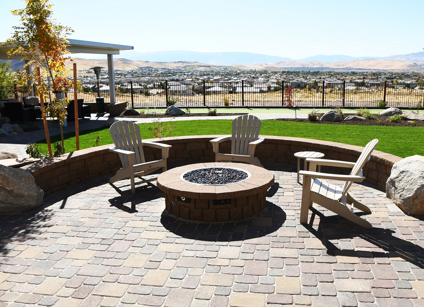 Outdoor fireplace with pergola in Reno, NV