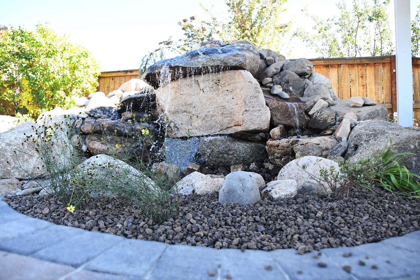 Outdoor living area with water feature in Reno, NV