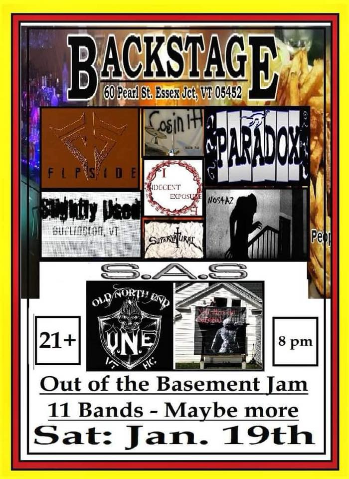 Out Of The Basement & Into A Blizzard - 01/19/19Backstage PubEssex Junction, VTOn the eve of the biggest snowstorm of the year we played the Backstage All Star Jam with several other great local acts. This show saw the debut of our newest song, Blue Balls Blues.