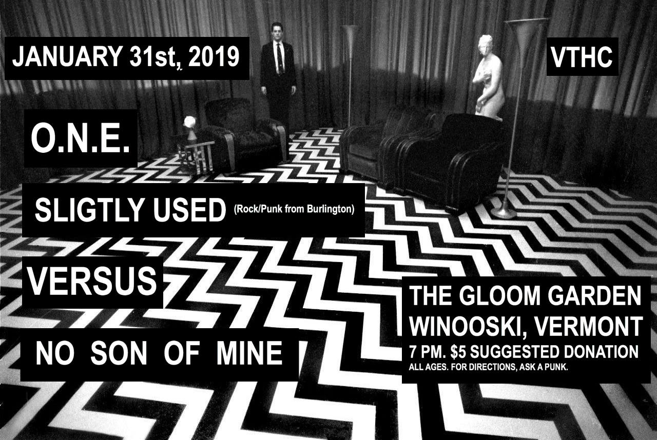 Gloom, Doom & A Split Wig - 1/31/19Gloom GardenWinooski, VTOn a bone chilling Thursday night we got things rolling when we opened up for our friends Old North End and No Son Of Mine in Winooski, VT. Everything was going well until Stevo didn't look up and split his head open going up the stairs. A few hours (and a couple of staples) later he made it back in time for the end of the night.*They've since then added a layer of padding to the door frame so no one else has to get their head stapled.