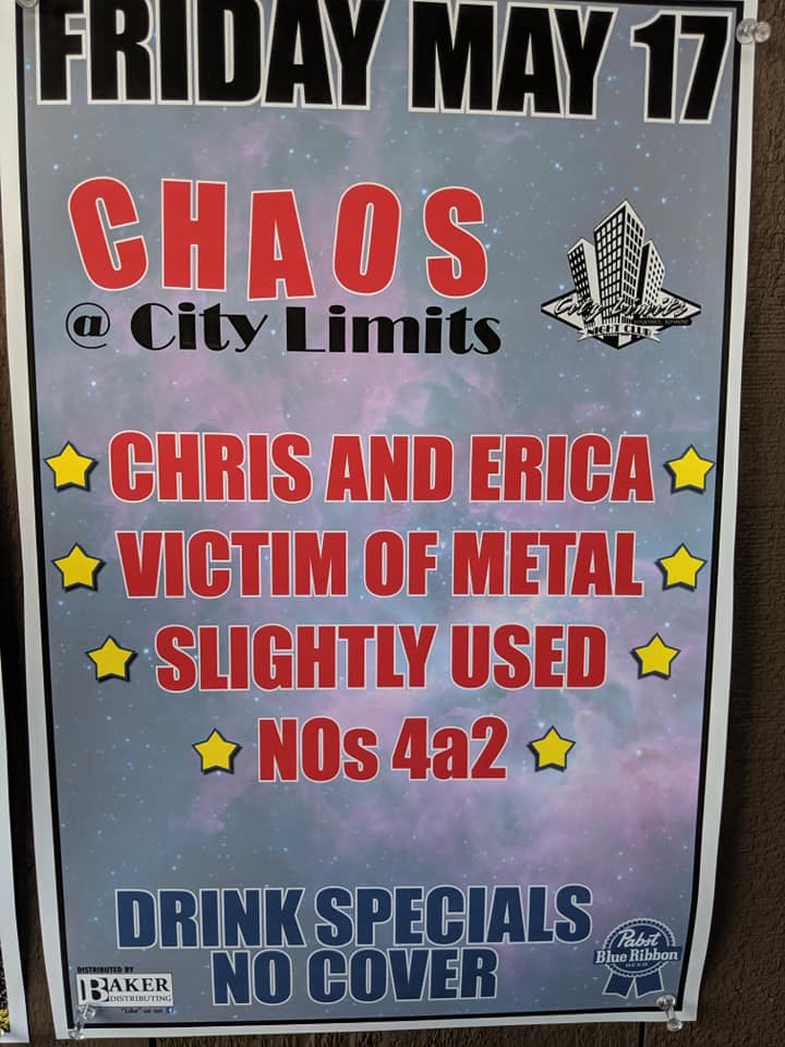 """""""Todd, check it out, they spelled Khaos wrong."""" - 5/17/19City Limits Night ClubVergennes, VTBack in Vergennes again, an awesome time was had by all. And this time we weren't playing in the middle of a blizzard!"""