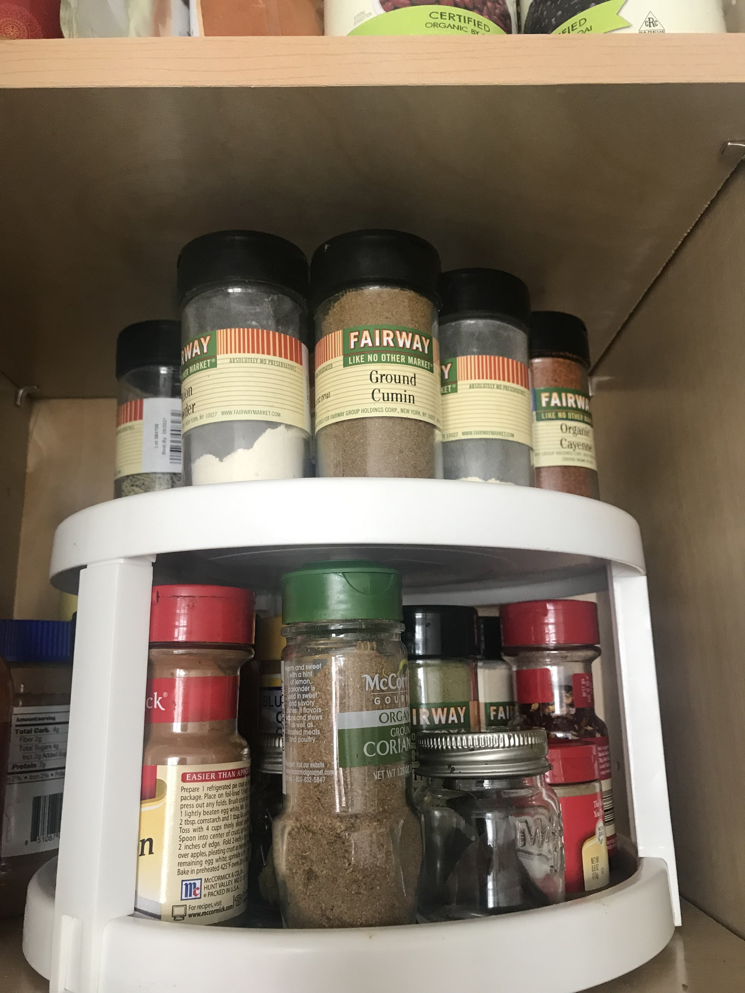 A lazy susan allows you to find all your spices fast for yummy recipes!
