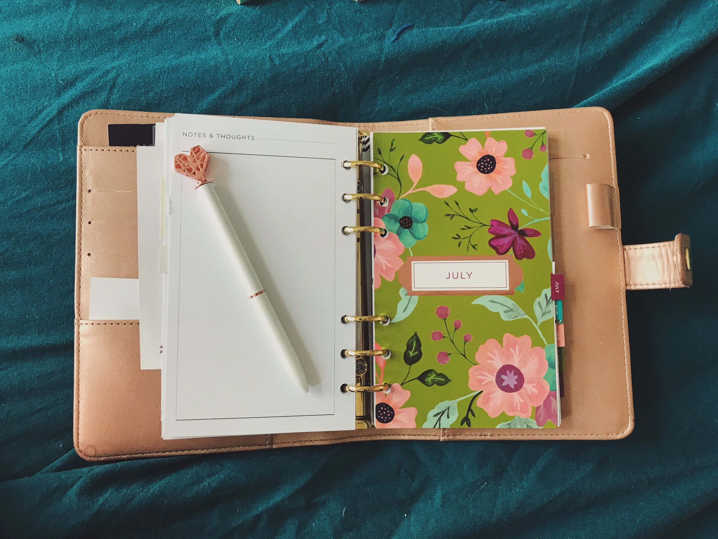 Planner binder from Michael's with customizable inserts.