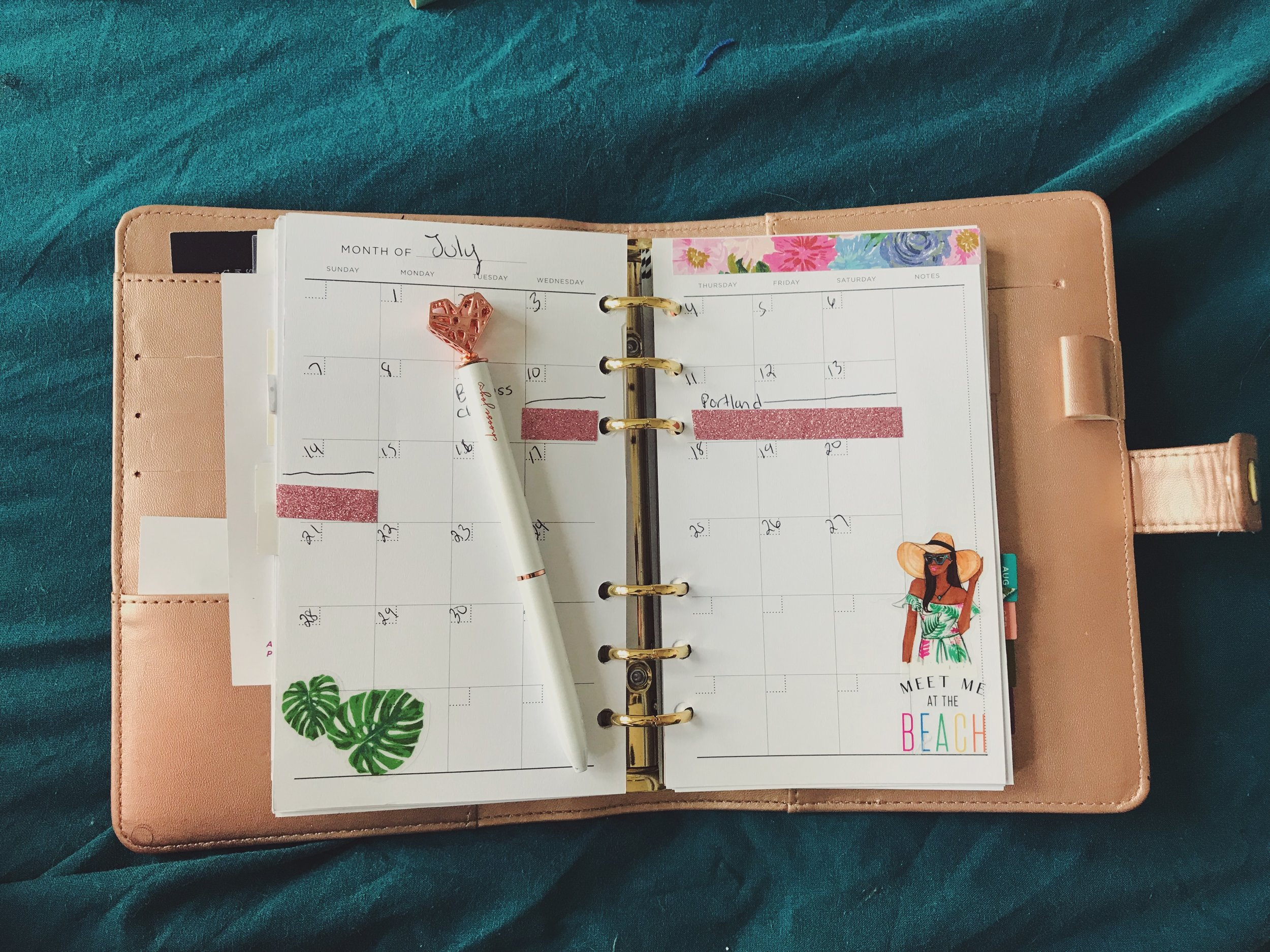 Decorative washi tape and stickers helps the pages come alive.