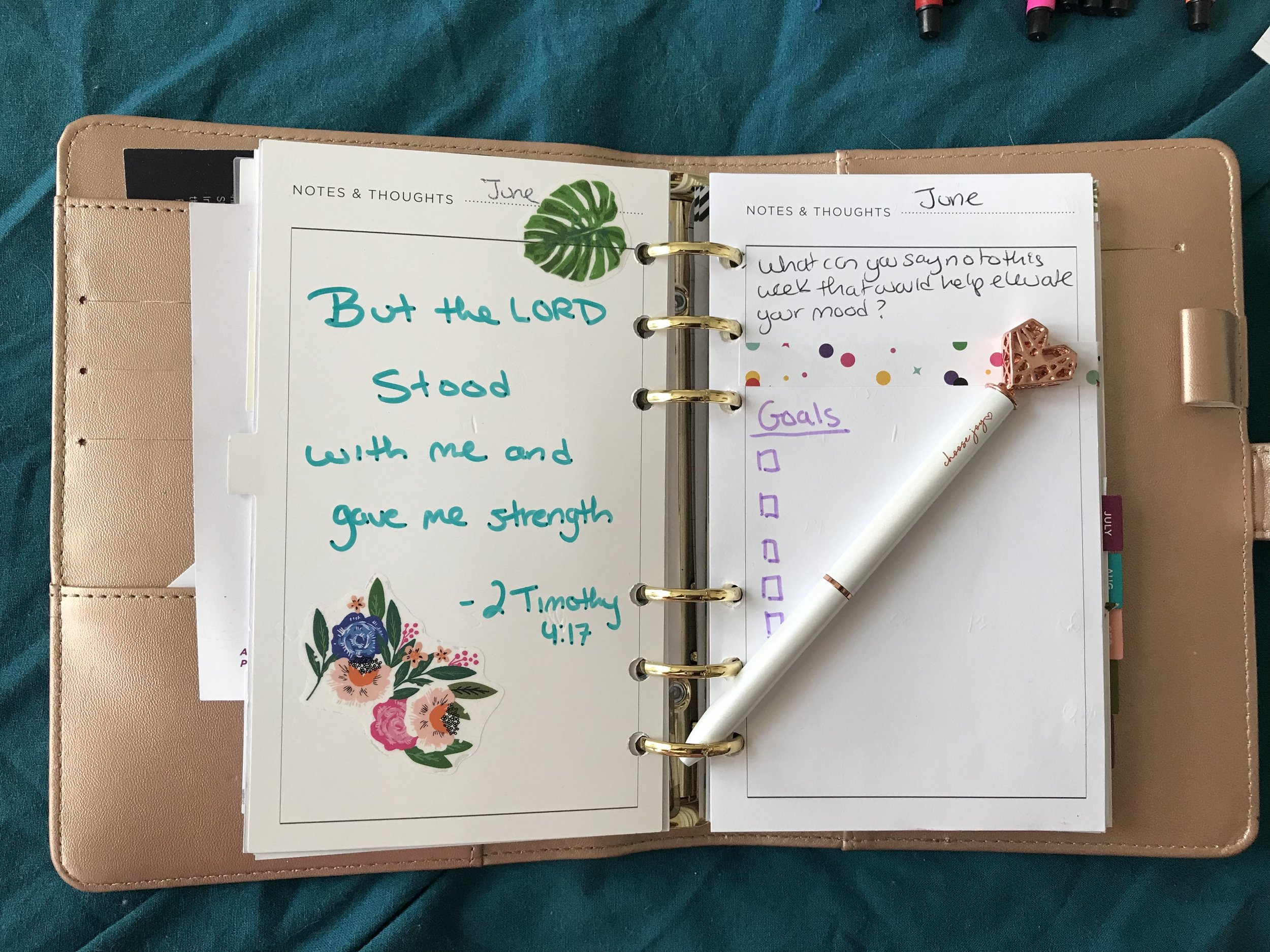 Each month I jot down : a bible scripture, one self care activity, and a list of goals