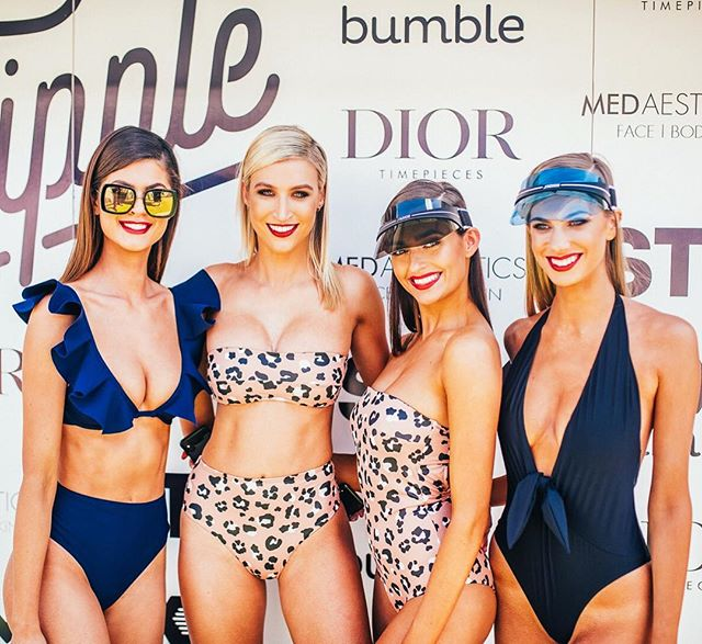 Squad on point! These babes rocking @bondibornaustralia 🔥 🙌🏼 Killer Dior visors from @barbagallo.watch #TheTippleEffect #bondiborn #alisonjadecosmetics #dior #barbagallowatch #missuniverseaustralia #pinktankevents