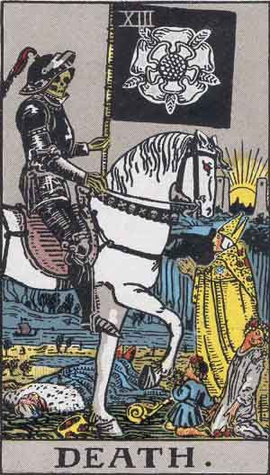 The metaphorical representation of death in the Tarot denotes inevitable change and transformation. It is a representation of beginnings as much as a representation of endings.  Image: Pamela Coleman Smith - public domain.
