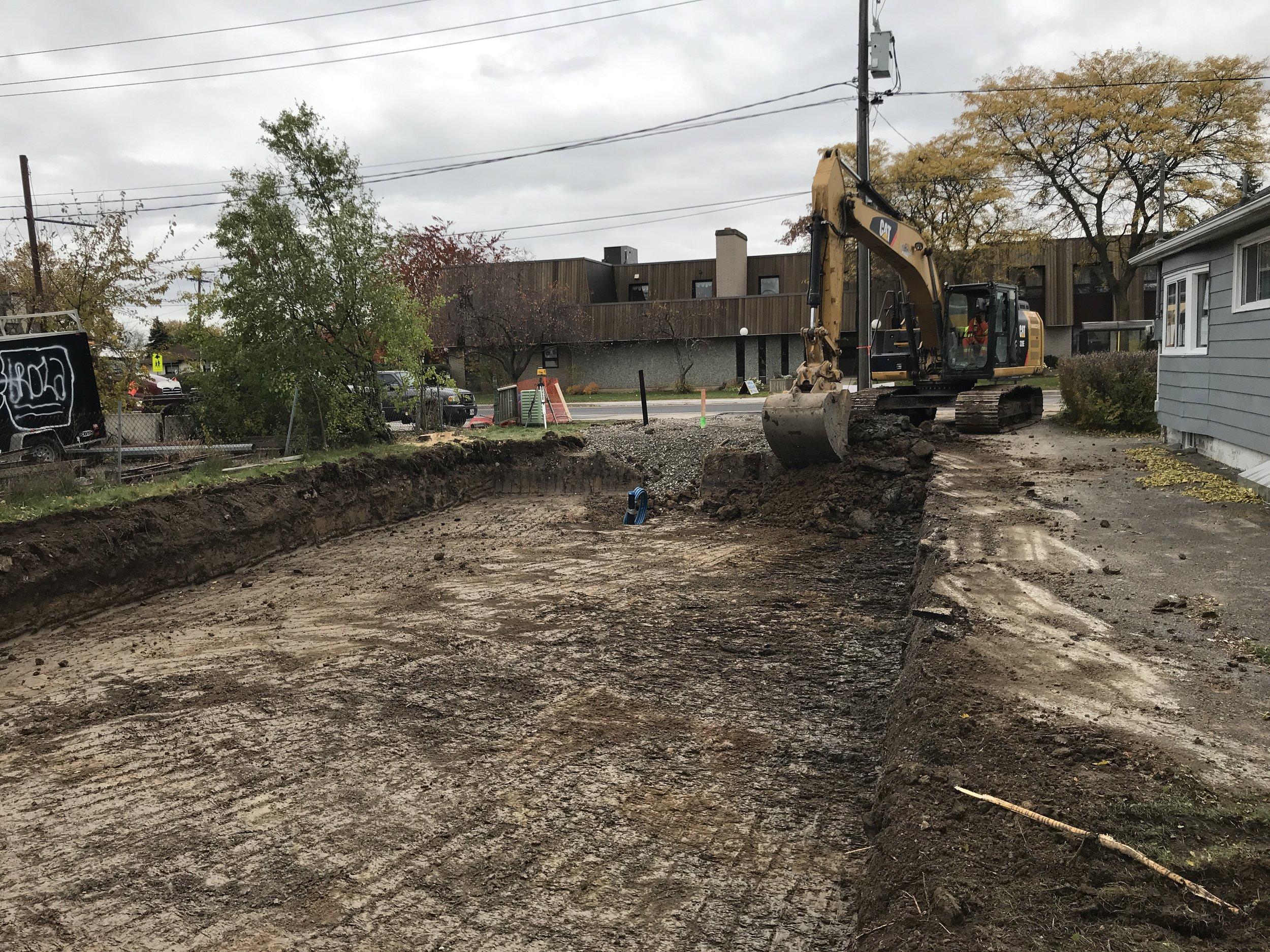 The excavator at work.
