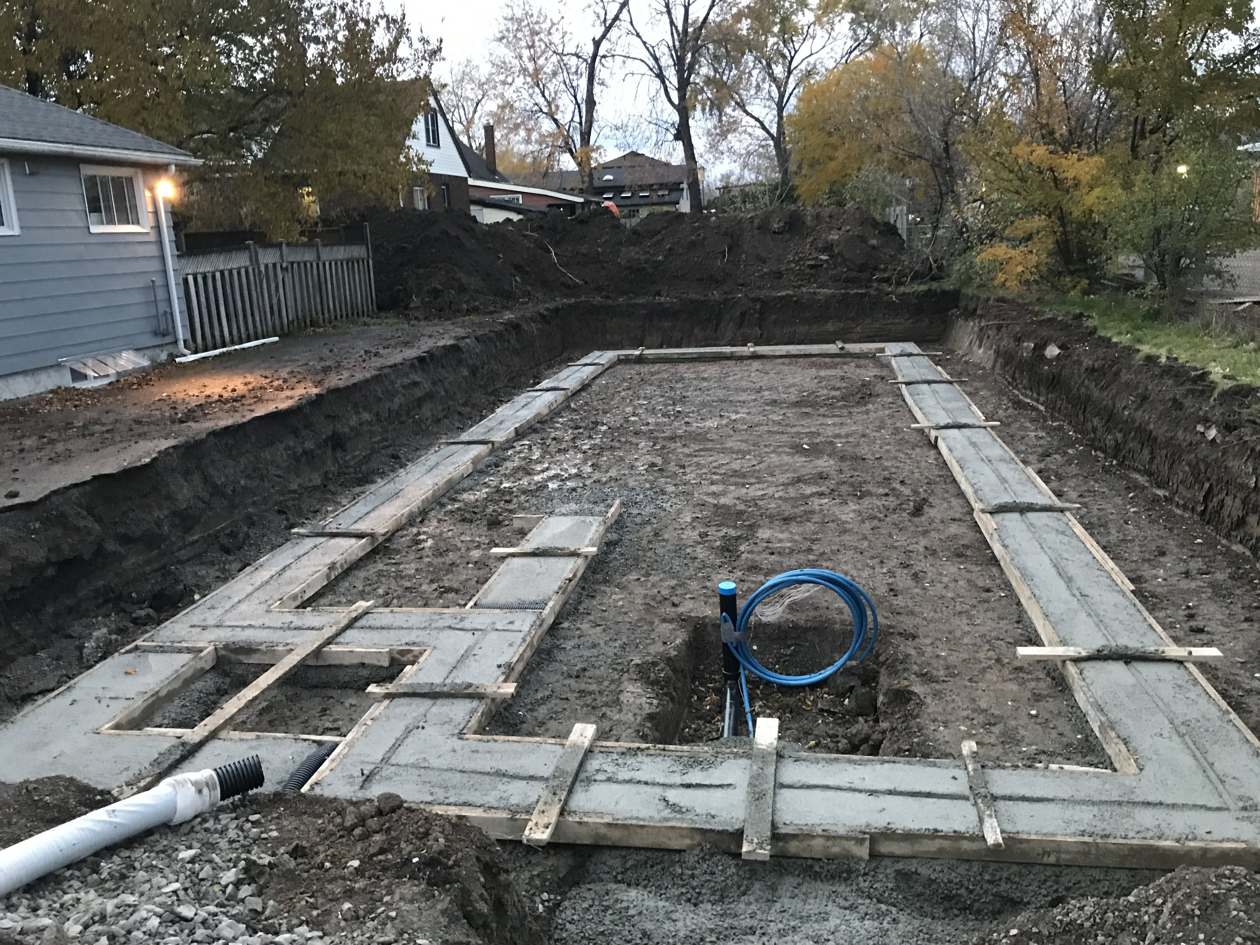 Concrete for footings poured.