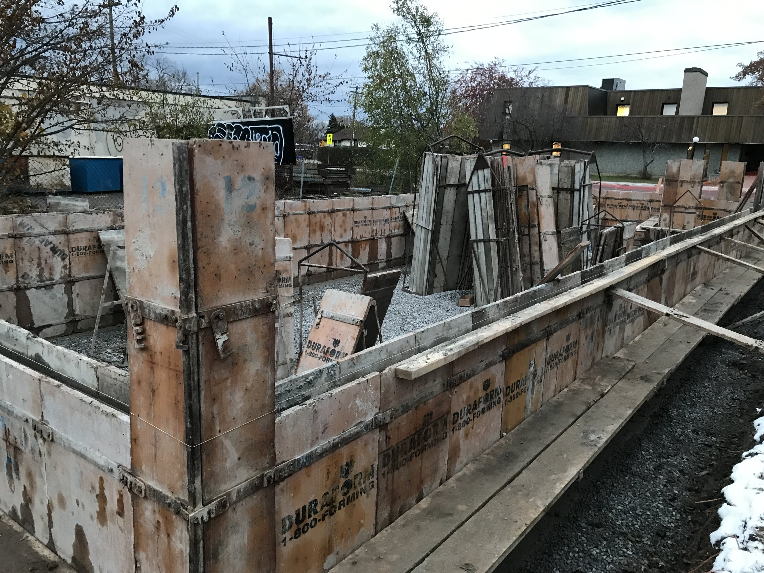 Foundation wall forms - These guide the concrete walls to be poured and sit on top of the footings.