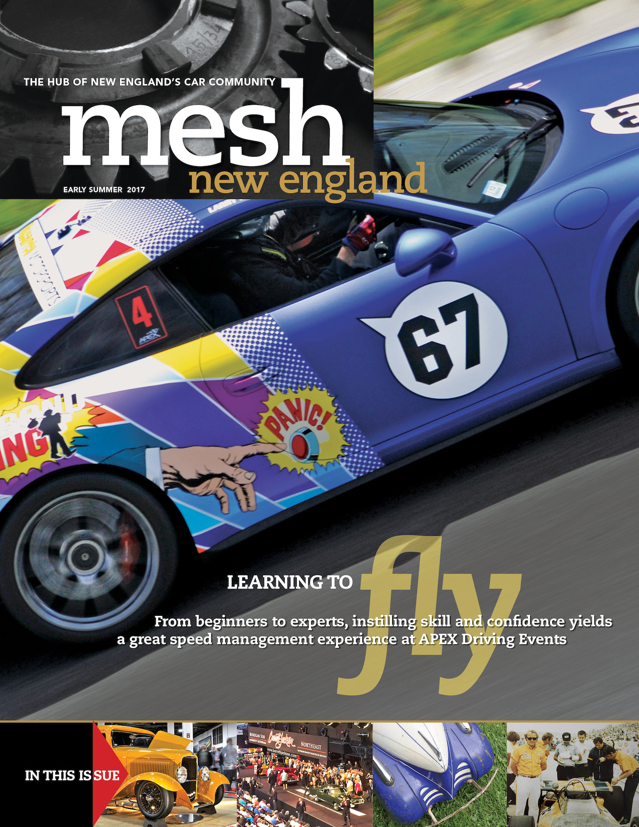 Early Summer 2017 cover of mesh new england magazine with a blue car featured on the cover.jpg