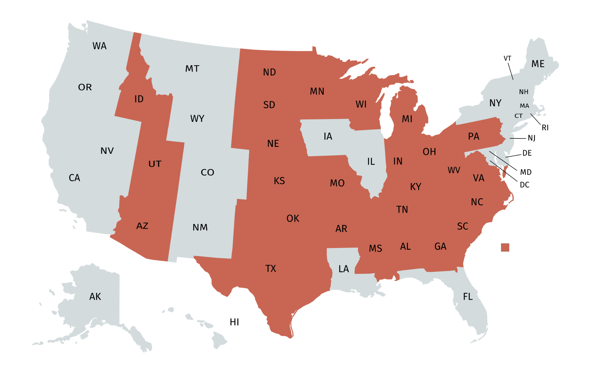 As of 2019, 27 US states have imposed mandated abortion waiting periods. Data provided by the  Guttamacher Institute