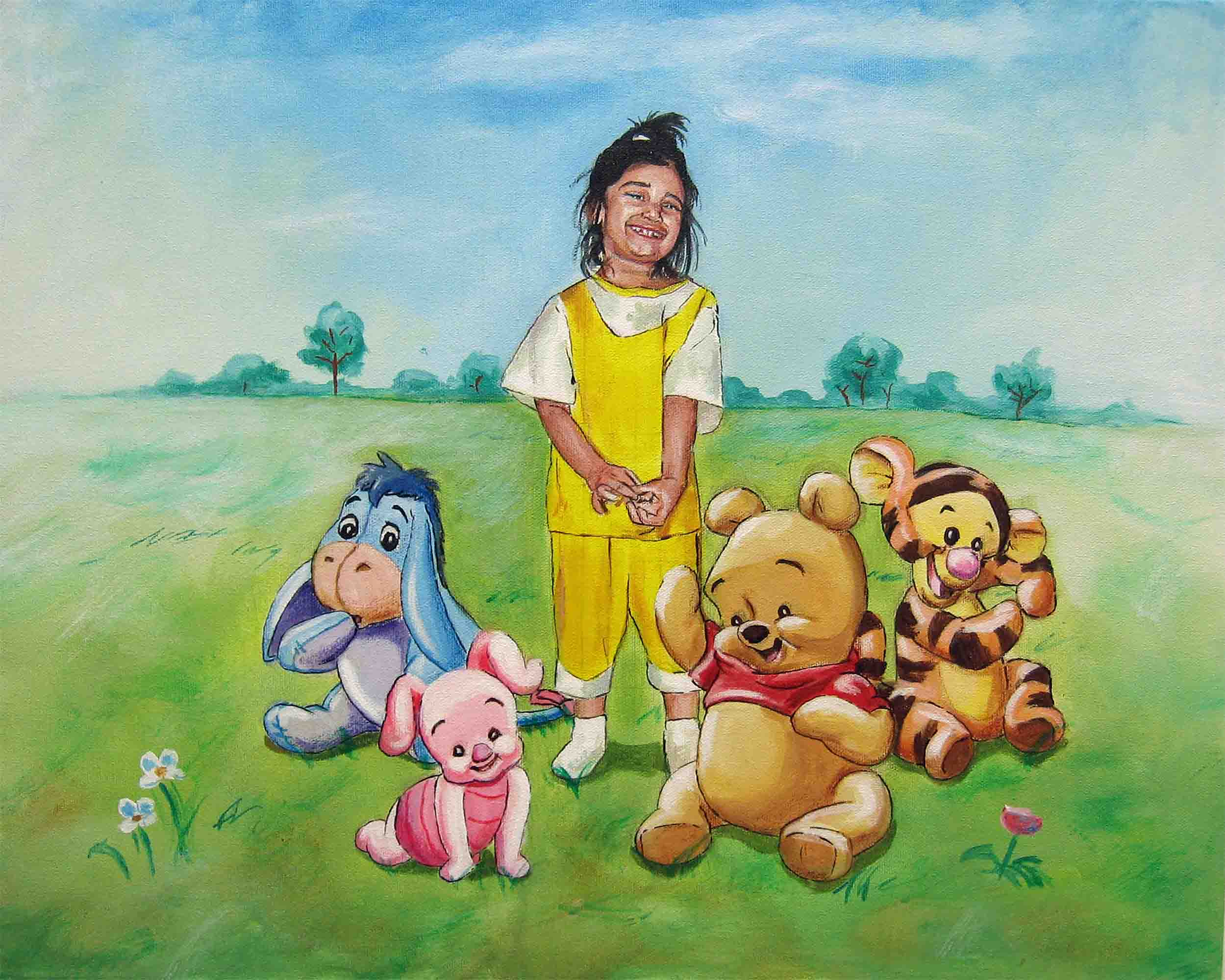 Akila's daughter with Winnie the Pooh & Friends