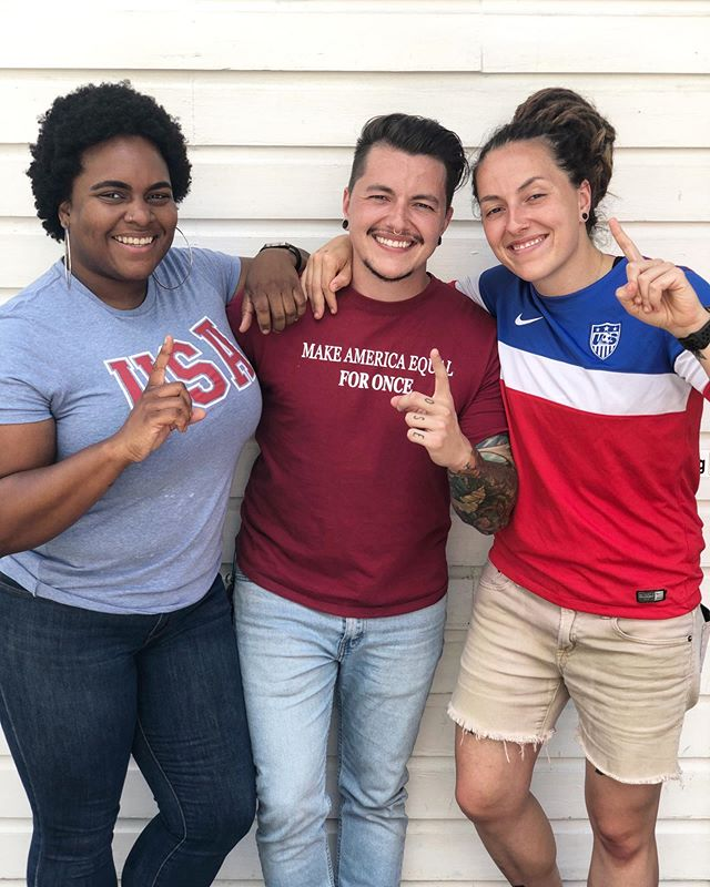 Episode 10 is up and it's all about sex! Enjoy this cute photo of 3/4ths of @queerforit hanging out and watching the @uswnt win today!! ⚽️