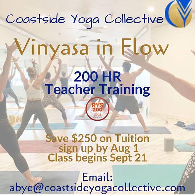 Teacher Training starting soon~ are you in?  Early birds save $250 when you enroll before 8/1!  Coastside Yoga Collective is a Yoga Alliance registered school. ✨🕉✨ #bethechange #thematlife #coastvibes #beachbhakti #yogaeverydamnday #loveyourwork #shareyourpassion