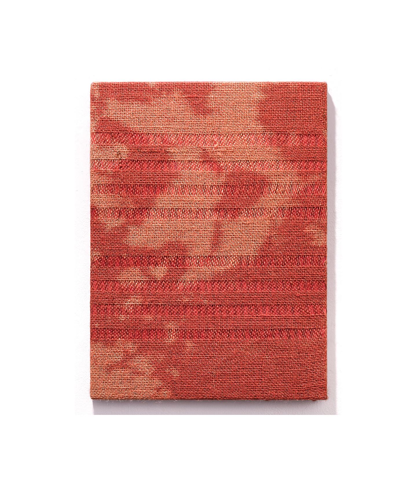 "gregory kaplowitz, Martin Riley (4) Unwoven burlap, bleach, acrylic paint, and cotton jersey over cradled board. 16"" x 12"" $1,500"