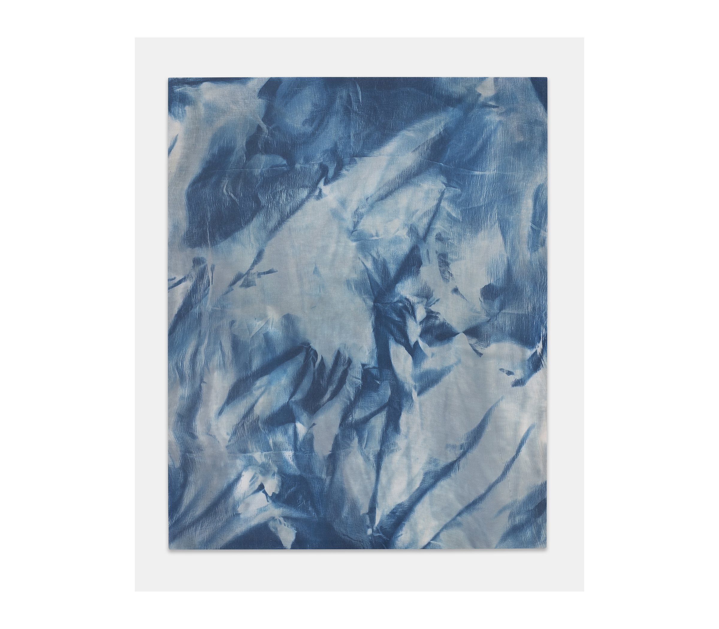 """gregory kaplowitz, Untitled (Vermont) Cyanotype emulsion, cotton gauze fabric, and wood supports. each 59"""" x 47"""" $4,300"""