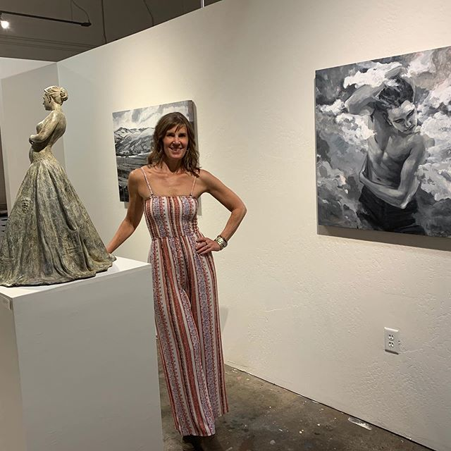 Me in my natural habitat. #studio #posing #womenartists #oregonartist #ashlandgalleryassociation #enclavestudiosashland #bronzesculpture #paintings #artopening #exhibition #artistsoninstagram #artcurator #creativelife #professionalartist